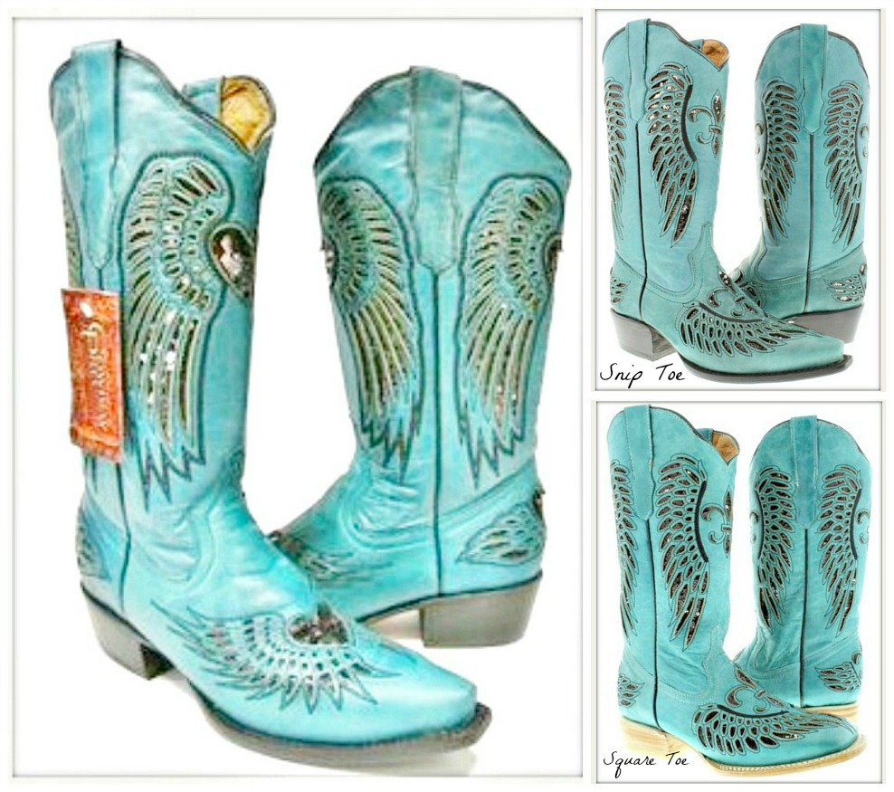 COWGIRL SEQUIN BOOTS Black Sequin Angel Wing Underlay Turquoise Boots