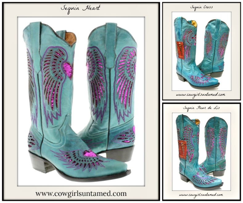 COWGIRL STYLE BOOTS Fuchsia Pink Sequin Turquoise Genuine Leather Cowgirl Boots  Snip or Square Toe