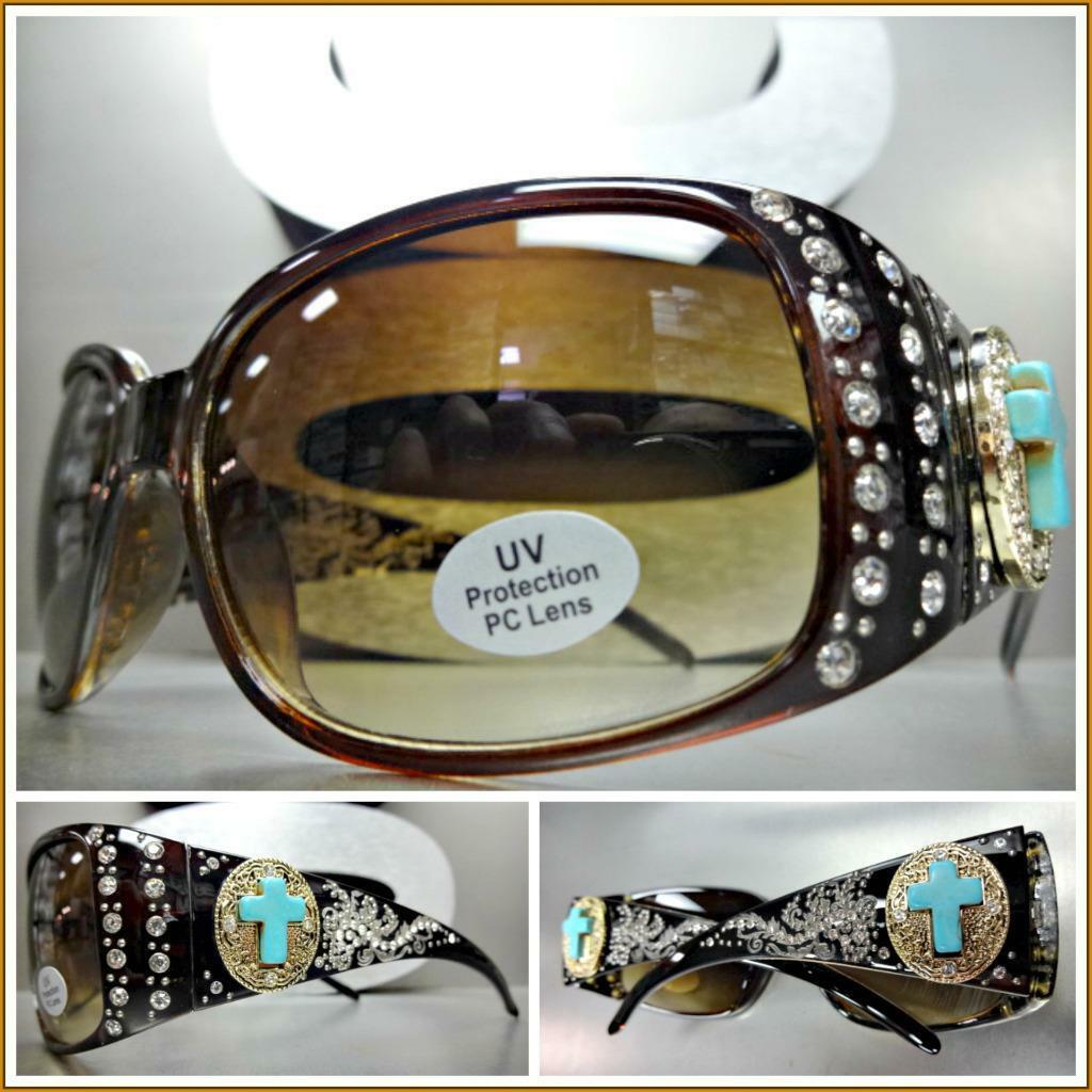 DON'T CROSS ME SUNGLASSES Crystal and Turquoise Cross Embellished plastic Frame Womens Sunglasses 2 COLORS