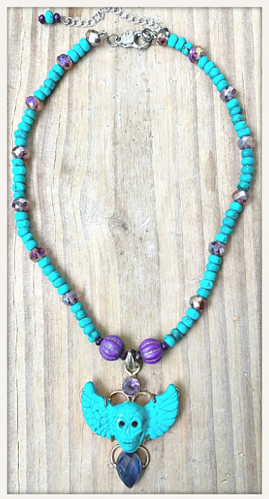 COWGIRLS ROCK NECKLACE Deep Teal Turquoise & Amethyst Winged Skull SS Pendant Beaded Necklace
