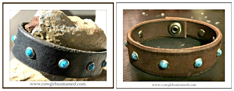 COWGIRL GYPSY CUFF Turquoise Studded Leather Cuff Bracelet
