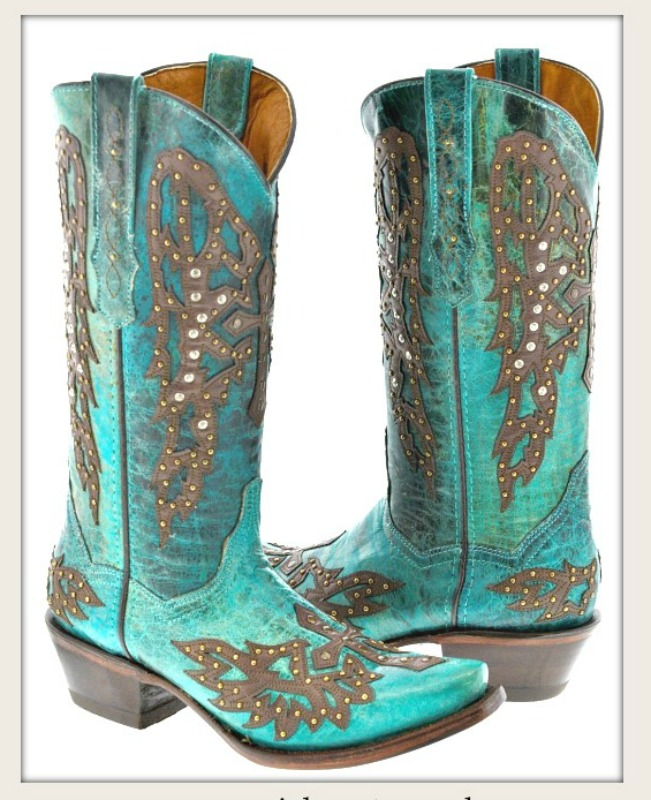 COWGIRL STYLE BOOTS Antique Bronze & Rhinestone Studded Winder Brown Cross on Teal GENUINE Leather Boots Size 6-8