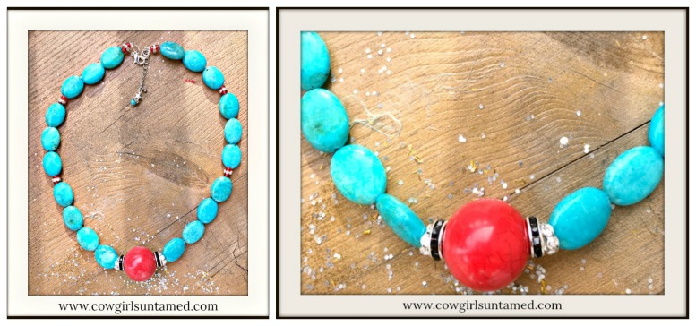 COWGIRL STYLE NECKLACE Turquoise Rhinestone and Red Beaded Coral Pendant Silver Necklace