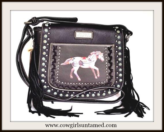 HORSE LOVIN' COWGIRL HANDBAG TRAIL of PAINTED PONIES Image on Fringe Leather Messenger Bag