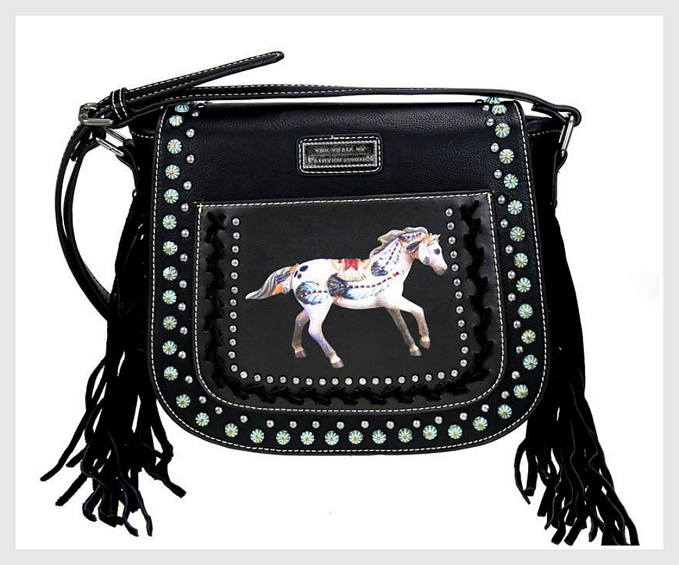 HORSE LOVIN' COWGIRL HANDBAG TRAIL of PAINTED PONIES Image on Fringe Leather Messenger Bag
