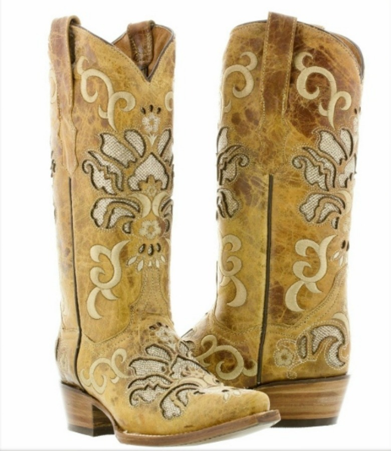 COWGIRL STYLE BOOTS Tan Embroidery and Underlay on Light Brown Distressed LEATHER Boots Sizes 5-11