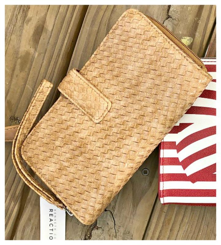 REACTION WALLET Tan Basketweave Leather Designer Wallet Wristlet
