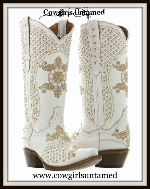 WILDFLOWER BOOTS Silver & Rhinestone Studded Tan Embroidery on White GENUINE LEATHER Cowgirl Boots