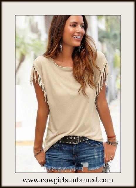 WESTERN COWGIRL TEE Fringe Short Sleeve Scoop Neck Tan T-shirt