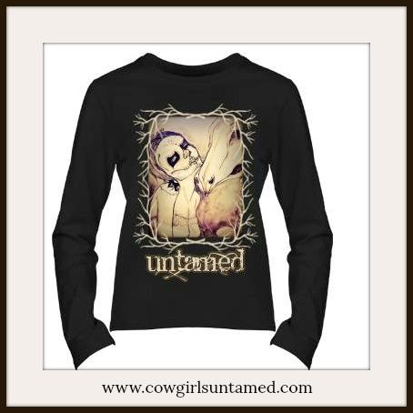 """COWGIRL GYPSY TOP Black N' Tan """"Untamed"""" with Branch Framed Artisan Hand Drawn Cowgirl Sugar Skull Long Sleeve Western T-shirt"""