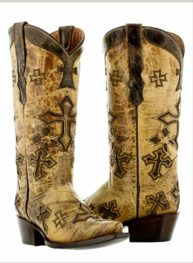 RODEO REBEL BOOTS Tan N Brown Distressed GENUINE LEATHER with Crosses Cowgirl Boots