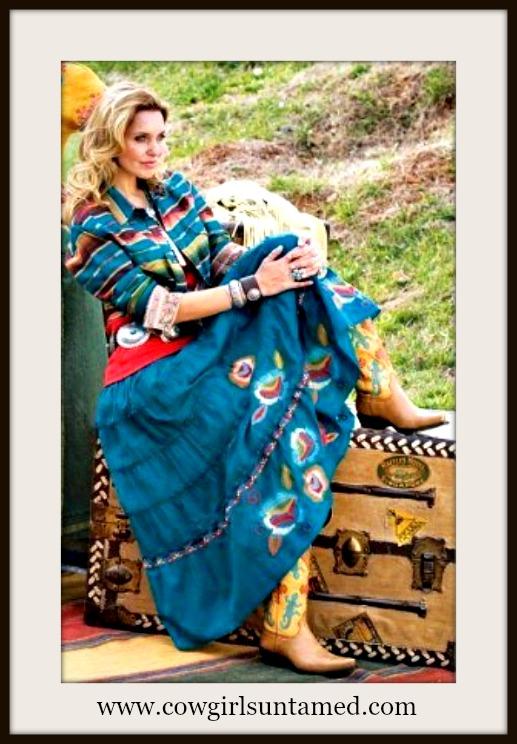 DESIGNER SKIRT Sedona Blue Deep Turquoise Teal Tiered Peasant Style Designer Tasha Polizzi Western Skirt and Dress