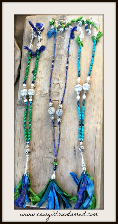 Bohemian Cowgirl Necklace Sari Ribbon Tassel Gemstone