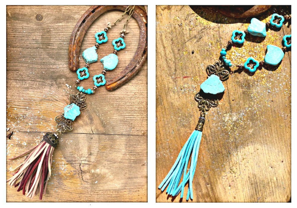 VINTAGE COWGIRL NECKLACE Leather Tassel Antique Bronze Filigree Pendant Turquoise Rhinestone Beaded Chain Necklace