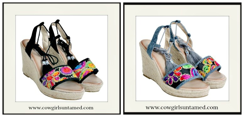 CLOSET CANDY SANDALS Multi Color Embroidered Espadrille Tassel Wrap Wedge Sandals