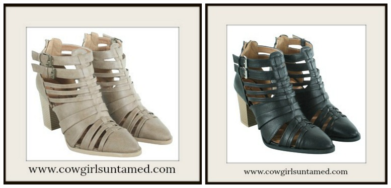 DESIGNER BOOTS Strappy Stacked Leather Ankle Bootie  2 COLORS!