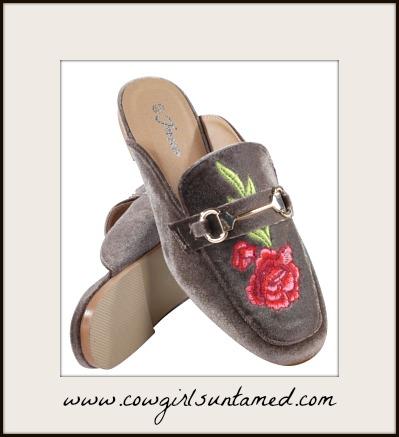 DESIGNER SHOES Rose Embroidery on Taupe Velvet Mule Slides