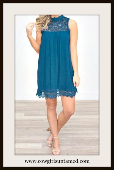 WILDFLOWER DRESS Teal Lace Crochet High Neckline Sleeveless Chiffon Boho Mini Dress