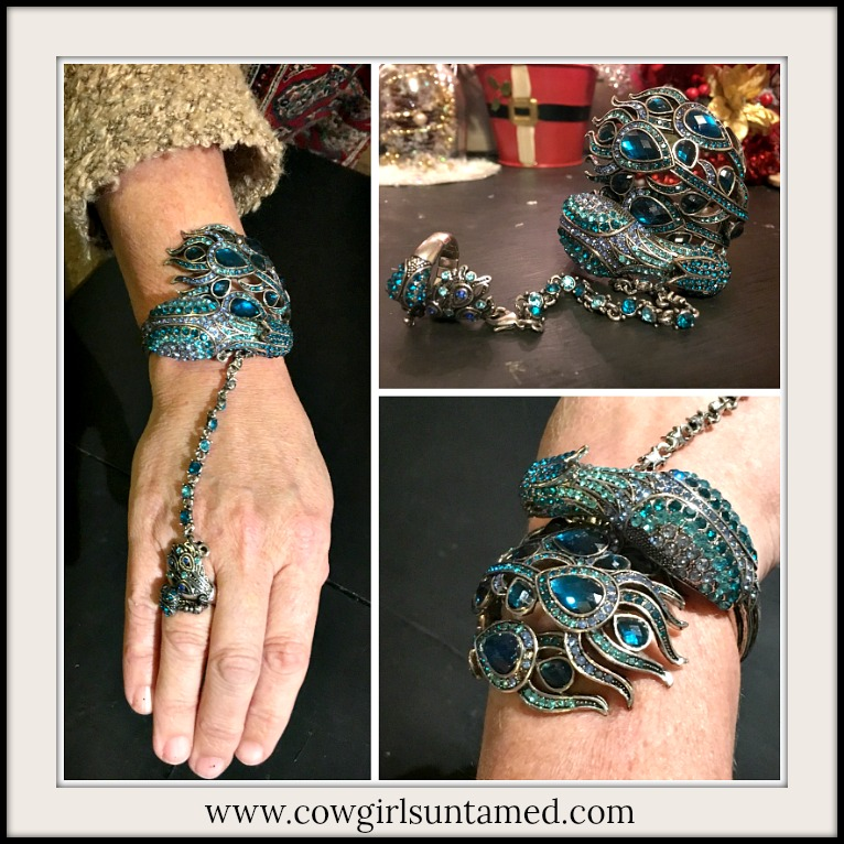 WILDFLOWER BRACELET Teal Crystal Rhinestone Peacock Boho Cuff Slave Bracelet with Ring