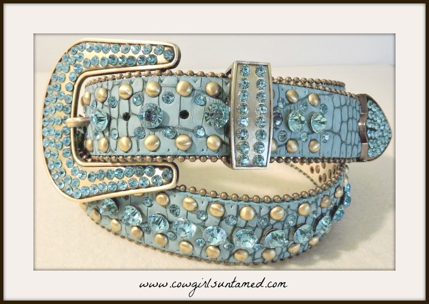 COWGIRL STYLE BELT Antique Brass & Silver Studded Crystal Teal Crocodile Embossed Leather Belt