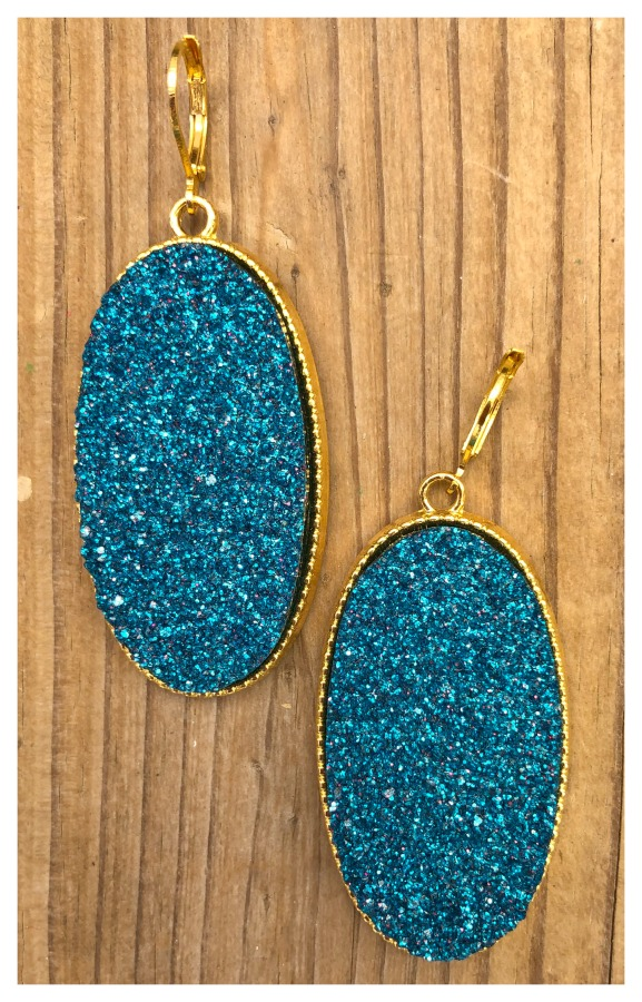 WILD BLUE EARRINGS Sparkling Ocean Blue Faux Stone Golden Earrings