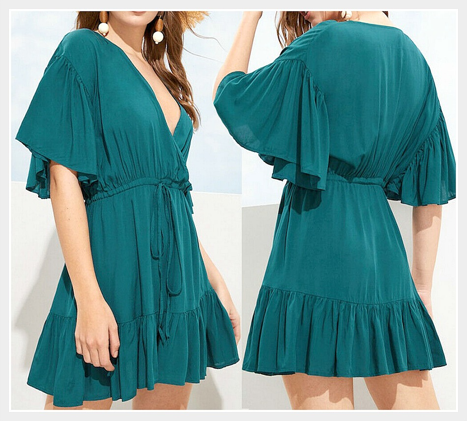 THE MEGAN DRESS V Neck Ruffle Short Sleeve & Hem Drawstring Teal Mini Dress