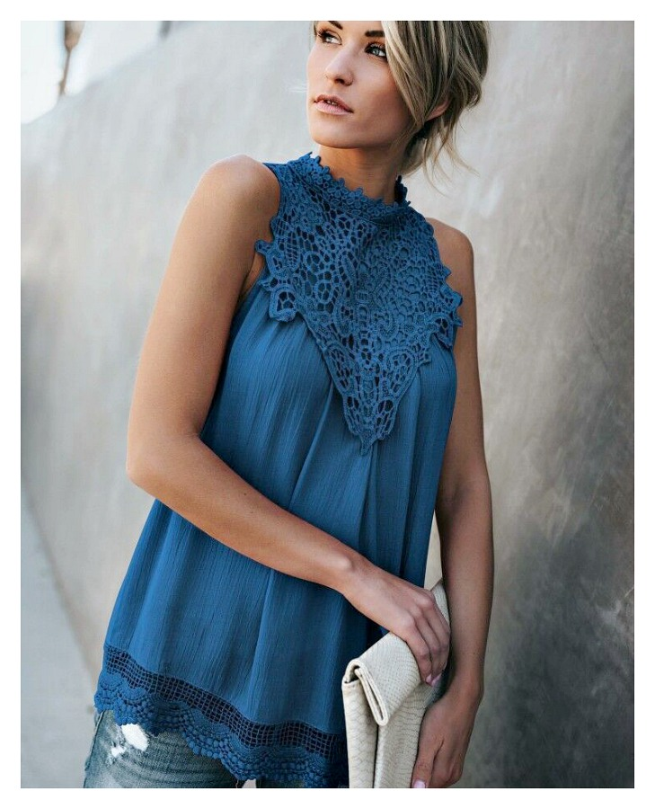 THE LOLITA TOP Lace Crochet High Neck Sleeveless Teal Blue Chiffon Boho Top