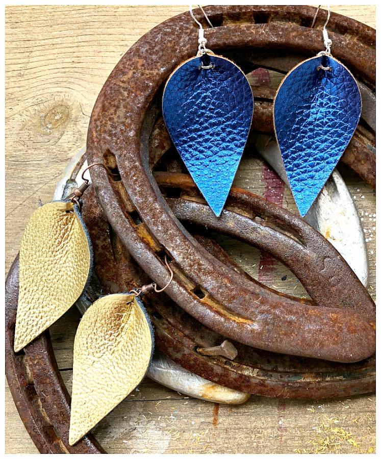 THE KELLY EARRINGS Handmade Large Metallic Genuine Leather Teardrop Earrings 2 COLORS