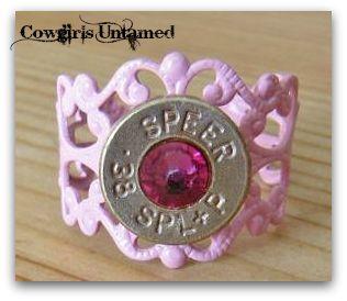 COWGIRL OUTLAW RING Pink Swarovski Crystal 38 Special Bullet Enamel Western Ring
