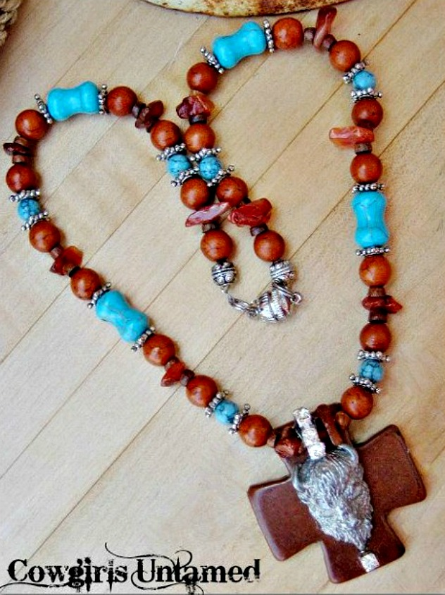 AMERICAN COWGIRL NECKLACE custom Pewter Buffalo Pendant on Brown & Aqua Turquoise & Cross Rhinestone Western Necklace