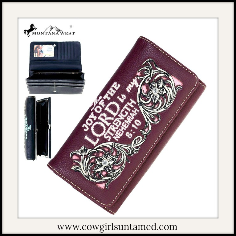 CHRISTIAN COWGIRL WALLET White Bible Verse & Floral Embroidery Crystal Silver Studded Wallet