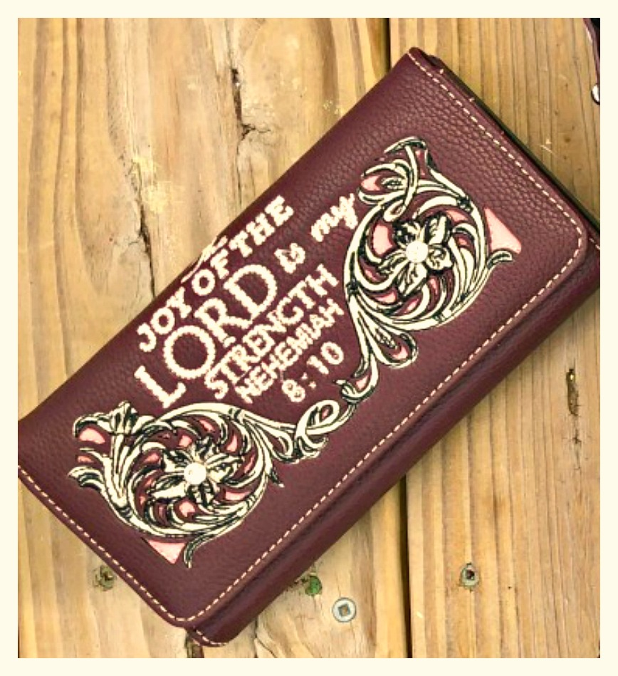 """CHRISTIAN COWGIRL WALLET White """" The Joy Of The LORD is my Strength"""" Floral Embroidery Crystal Wallet"""