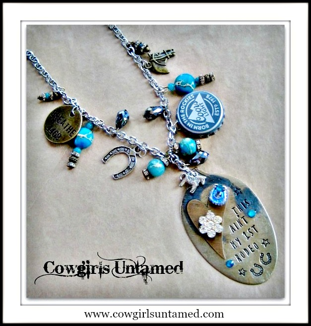 "COWGIRL ATTITUDE NECKLACE ""This Ain't My First Rodeo"" Pendant on Turquoise Blue & Teal Gemstone Rhinestone Crystal Charm Silver Necklace"