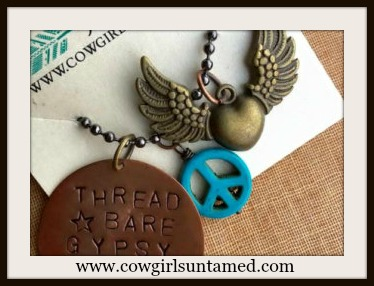"WILDFLOWER NECKLACE Copper ""Thread Bare Gypsy Soul"" Bronze Winged Heart & Turquoise Peace Charm Boho Necklace"