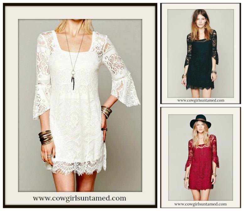 COWGIRL GYPSY DRESS Lace 3/4 Sleeve Square Neck Boho Mini Dress  Free Slip 3 COLORS!