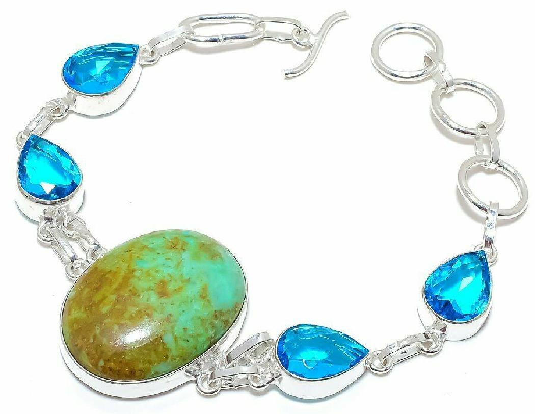 THE TIBETAN BRACELET Turquoise & Blue Topaz 925 Sterling Silver Womens Bracelet