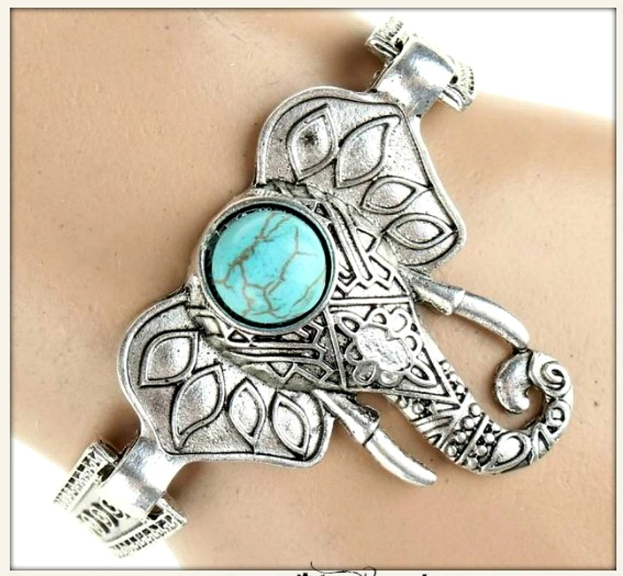 COWGIRL GYPSY BRACELET Turquoise Bindi on Elephant Etched Antique Silver Boho Bracelet