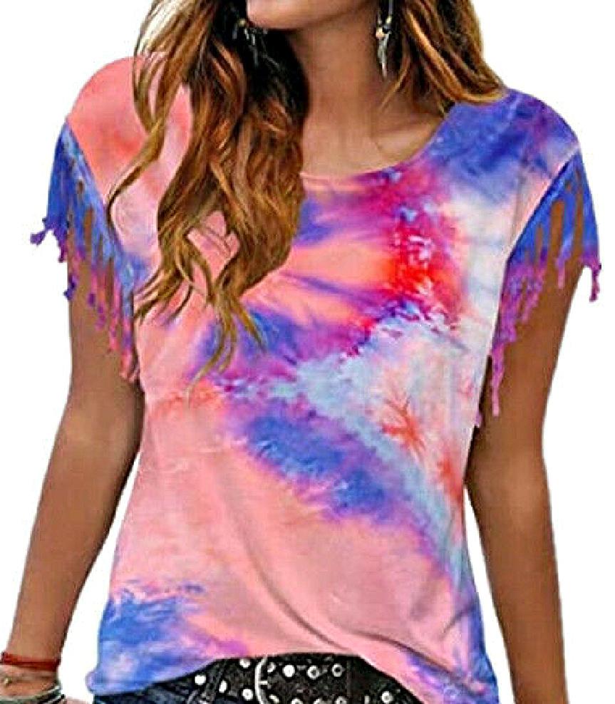 BOHEMIAN COWGIRL TEE Tie Dye Fringe Short Sleeve Scoop Neck Womens Top T Shirt