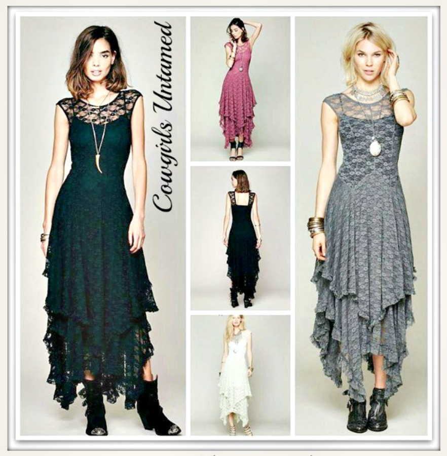 COWGIRL GYPSY DRESS Tiered Lace Cap Sleeve Western Dress 5 COLORS!