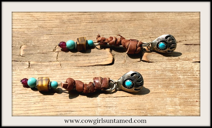 COWGIRL STYLE EARRINGS Sterling Silver N' Turquoise Indian Bear Paw with Tiger's Eye Earrings