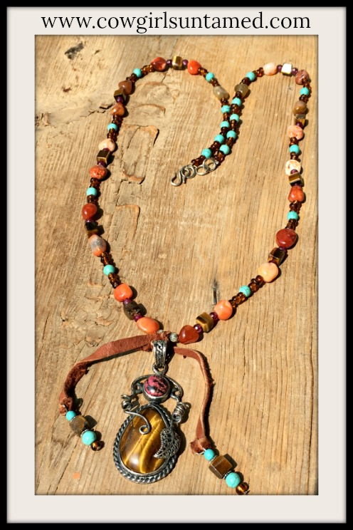 COWGIRL STYLE NECKLACE Sterling Silver Tiger's Eye Gemstone Leather Tassel Pendant Necklace