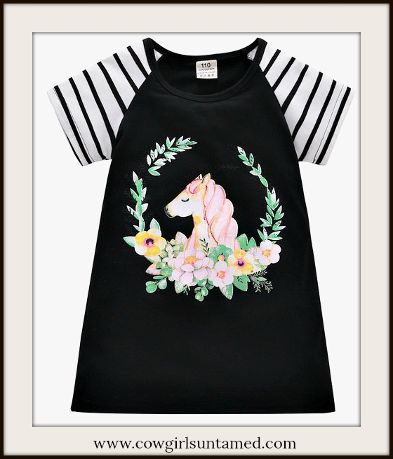 LITTLE COWGIRL DRESS Floral Print with Horse Striped Sleeve Black Dress & FREE Bow