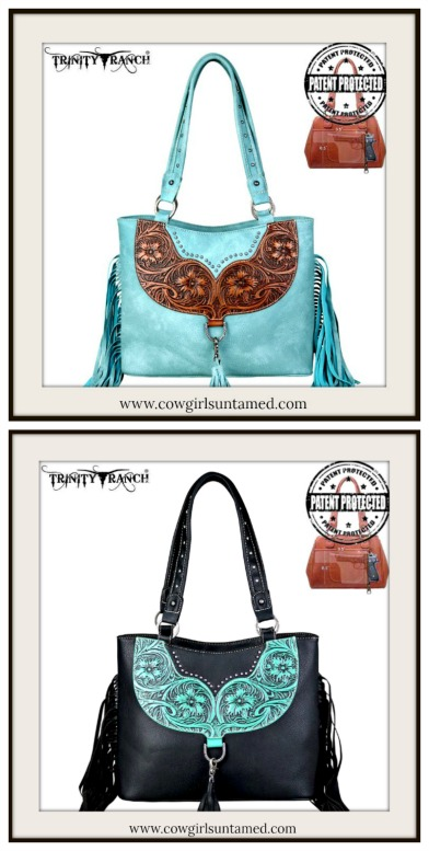 WESTERN COWGIRL HANDBAG Tassel and Tooled Leather Concealed Carry Western Tote  2 COLORS!