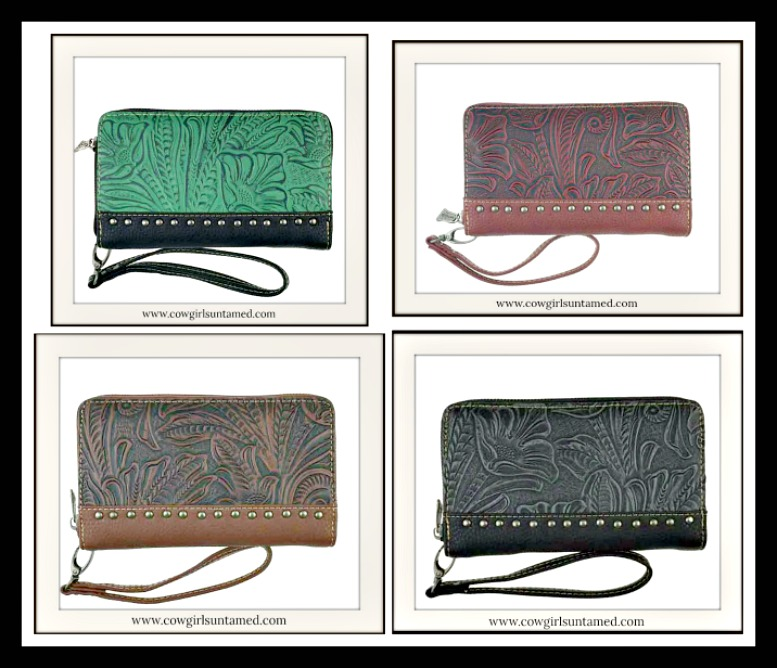 COWGIRL STYLE WALLET Floral Tooled Leather Silver Studded Wallet  4 COLORS!