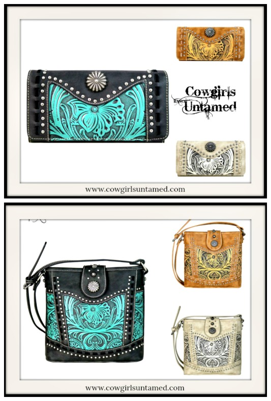 COWGIRL STYLE WALLET Floral Tooled Design Studded Western Wallet  Has Matching Crossbody!