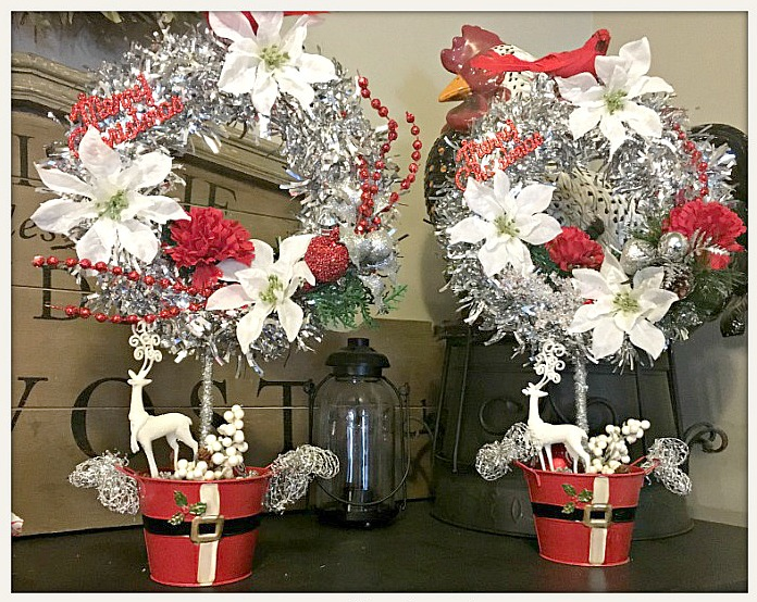 """COWGIRL CHRISTMAS DECOR """"Merry Christmas"""" Red & White Topiary with Deer in Santa Pot"""