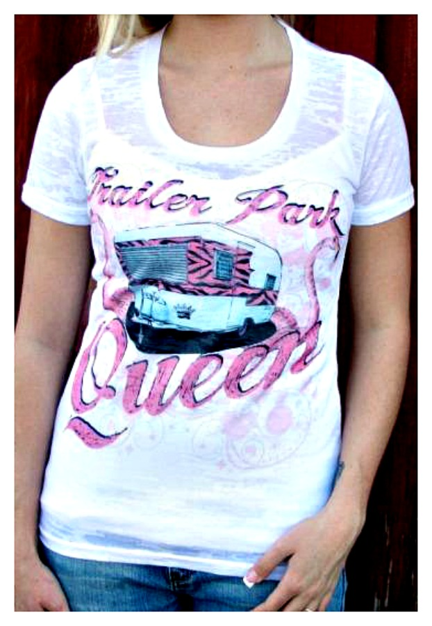 "COWGIRL ATTITUDE TEE ""Trailer Park Queen"" White Burnout  T-Shirt LAST ONE XL/2X"