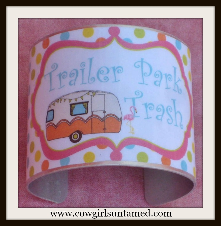 "TRAVELIN' COWGIRL GYPSY CUFF ""Trailer Park Trash"" Pastel Polka Dot with Trailer Camper on White Metal Western Cuff Bracelet"