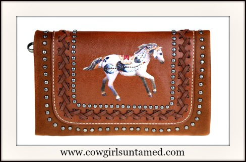 HORSE LOVIN' COWGIRL WRISTLET The Trail Of Painted Ponies Collection Clutch / Wristlet
