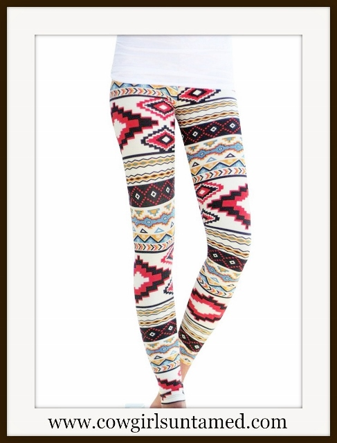 WESTERN COWGIRL LEGGINGS Tribal Aztec Print Stretchy Leggings